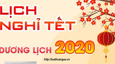 Thông báo lịch nghỉ Tết dương lịch năm 2020