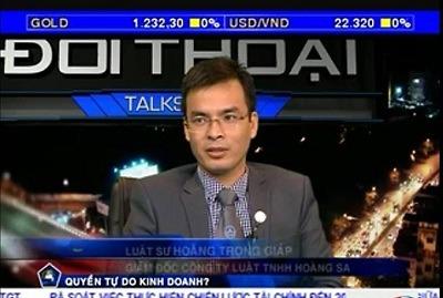 Luật sư Hoàng Trọng Giáp trả lời phỏng vấn kênh truyền hình VITV
